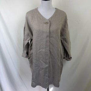 Eileen Fisher 100% linen beige one button jacket